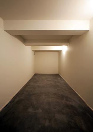 大きなデッキのある家の部屋 段差を利用した大容量の収納庫