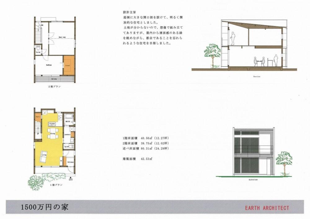 1500万円で「人生を楽しむ家」のアイデア集 (細長敷地の南入りタイプ)