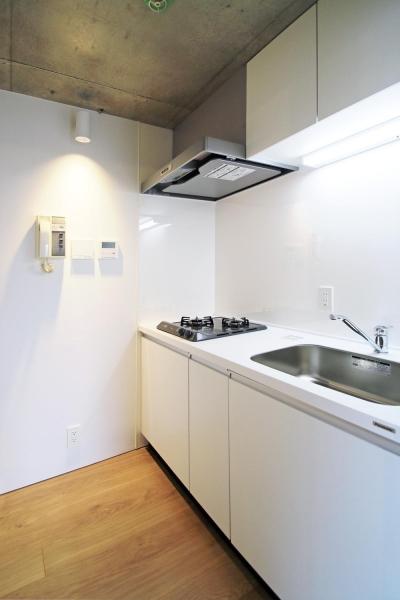 キッチン (RCと木と間接照明と。シンプル1Kの洗練された空間)