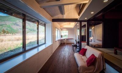 可動間仕切の一室空間 ( 間仕切OPEN )|美山のK邸改修