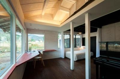 スタディスペース+寝室 ( サッシ廻りOPEN + 間仕切OPEN ) (美山のK邸改修)