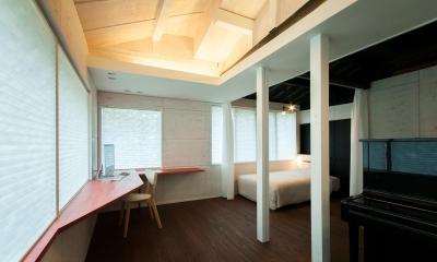 スタディスペース+寝室 ( サッシ廻りCLOSE + 間仕切OPEN )|美山のK邸改修