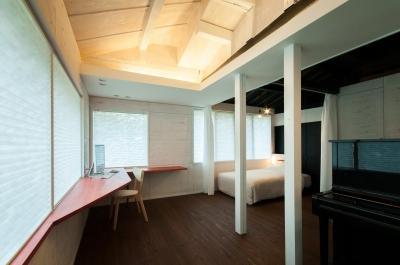 スタディスペース+寝室 ( サッシ廻りCLOSE + 間仕切OPEN ) (美山のK邸改修)