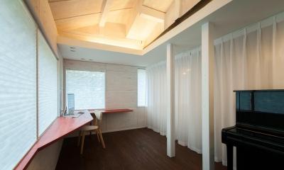 スタディスペース+寝室 ( サッシ廻りCLOSE + 間仕切CLOSE )|美山のK邸改修