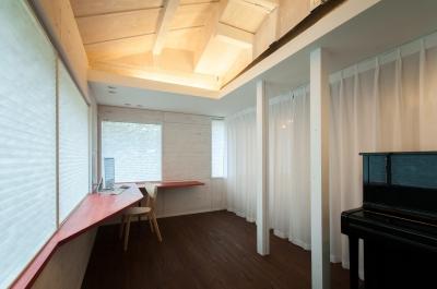 スタディスペース+寝室 ( サッシ廻りCLOSE + 間仕切CLOSE ) (美山のK邸改修)