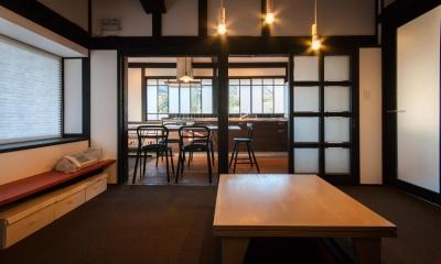 居間 + ダイニングキッチン ( 間仕切OPEN ) 美山のK邸改修