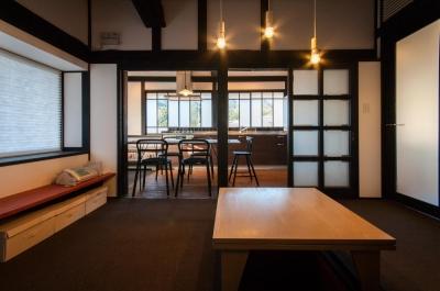 居間 + ダイニングキッチン ( 間仕切OPEN ) (美山のK邸改修)