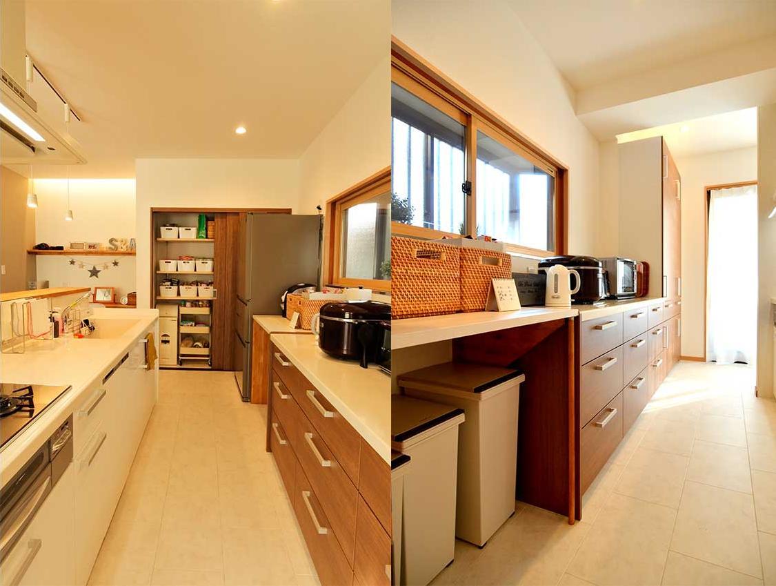 心地よい 『いつも一緒』 なリビングの部屋 収納たっぷりの広々としたキッチン