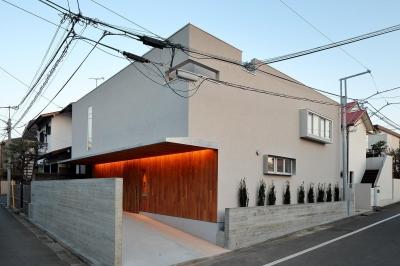三角の吹抜けのあるチークの家  ( 奥沢の家 ) (北側外観)