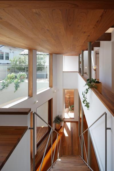 2階吹抜廻りのスタディコーナー (三角の吹抜けのあるチークの家  ( 奥沢の家 ))