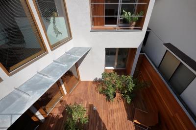 南側ルーフテラスより中庭を見下ろす。 (三角の吹抜けのあるチークの家  ( 奥沢の家 ))