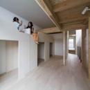 ウナギの寝床 座るリビング 家具の可変レイアウトによる子どもスペース : 御陵谷の住宅