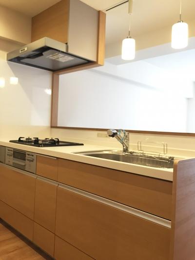 ペンダントライトのキッチン (納戸とWIC+クローゼットで約7帖分の収納スペース)