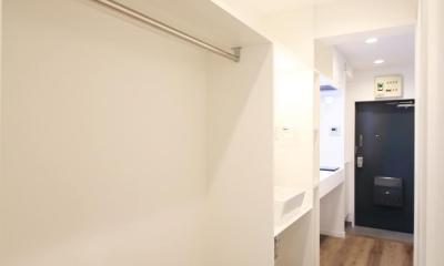 グレイッシュブルーの端正な空間 (直線に整理されたクローゼット、サニタリー、キッチン)