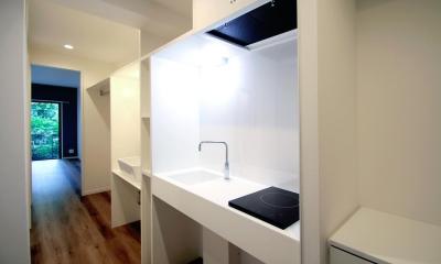 玄関からメインルームへ|グレイッシュブルーの端正な空間