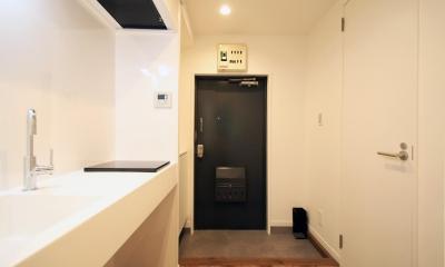 グレイッシュブルーの端正な空間 (空間を広く取った玄関)