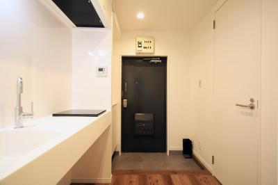 空間を広く取った玄関 (グレイッシュブルーの端正な空間)