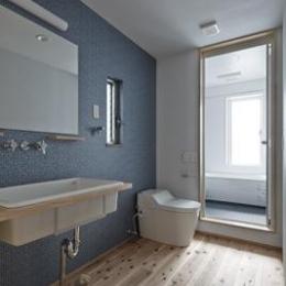 聚楽廻の住宅 (シンプルな洗面台、トイレ)