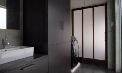 糸満の住宅 (収納たっぷりのモダンな洗面室)