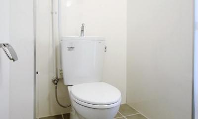 減室リノベーションで素材と質感を楽しむ (タイル敷きのトイレ)