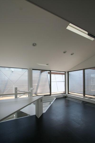 SZH 楔形の都市型住宅の部屋 リビング書斎スペース・アプローチ・デッキ・リフレクター