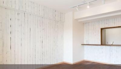 白×無垢材のコントラスト (リビングダイニング)