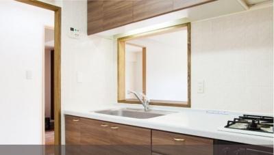 白×無垢材のコントラスト (キッチン)