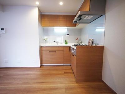 L字型のキッチン (トップライトから自然光が差し込む明るいキッチン)