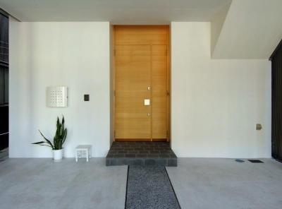 モダンな雰囲気の玄関アプローチ (犬山の家)