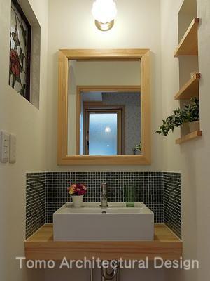 バス/トイレ事例:玄関ホールから利用する洗面コーナー(house-NMY)