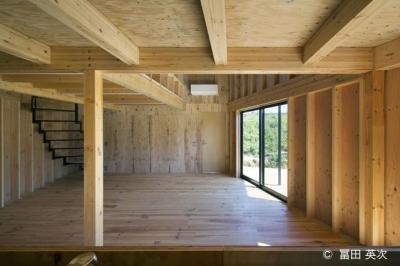 キッチンからリビングの眺め (高松の住宅2)