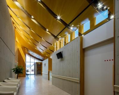 光が射し込む木のクリニック -PICTORUいずも画像診断室- (待合スペース)