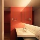 House-MSD【 White Rainbow-白虹- 】の写真 アクセントカラーの洗面室