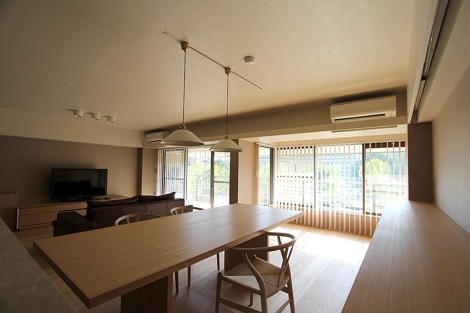 リビングダイニング事例:部屋の壁を取り払ったリビングダイニング(京都市Y様邸)