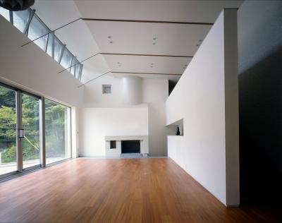 中軽井沢、地窓から裏手の広大な森が目に入る緑に囲まれた住まい (リビングルーム)
