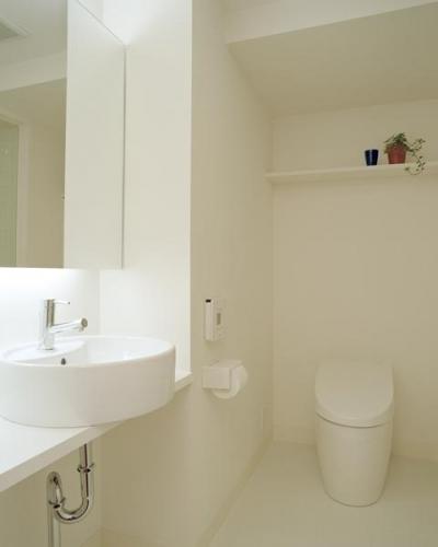 シンプルだけど清潔感のあるトイレ洗面 (お風呂をデザインする)