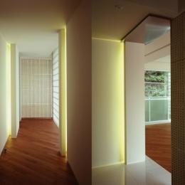 典雅さを目指した広尾の住まい RCビシャン仕上げの外観 シノワズリのインテリア空間 (廊下)