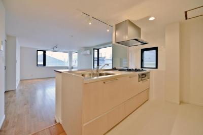 2室→1室の広々1LDKリノベーションでワイドキッチンを中心にする暮らし (広さのあるキッチンスペース)