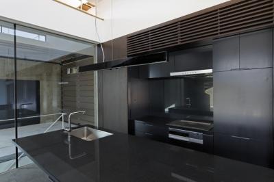 那須の家 (黒で統一された壁面収納とアイランドキッチン)