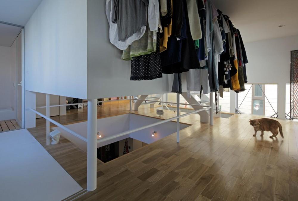ジャムズ「ツナ 機能部の回遊をリビングから見せる都心3層住宅。」