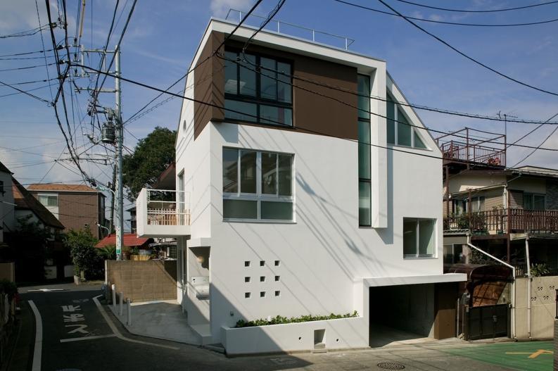 スキップの家 / 愛犬家住宅の部屋 インナーガレージのある白い外観