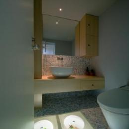スキップの家 / 愛犬家住宅 (床が個性的なタイル張りのトイレ)