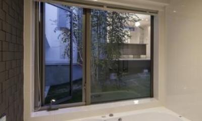 中庭を望むバスルーム|スロープの家 / 愛犬家住宅