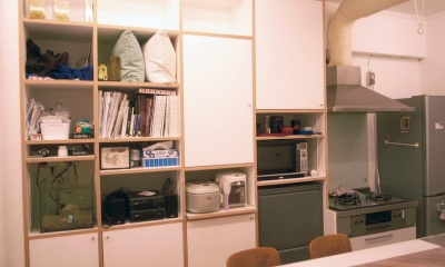 ネコウラ邸 50㎡につめた、ソーホー型キッチン中心ルーム (キッチン収納)