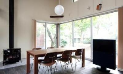 木漏れ日屋根の家 (暖炉のある空間)