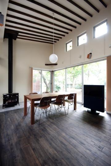 リビングダイニング事例:暖炉のある空間(木漏れ日屋根の家)