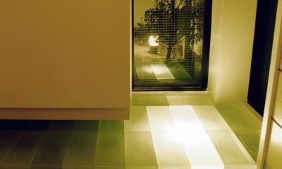 木造のスケルトンリフォーム|HT-house (玄関カウンター下からのぞく夜景)