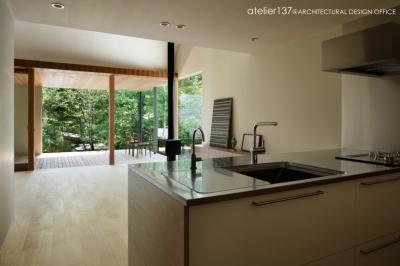 キッチンからテラスを見る (031軽井沢Tさんの家)