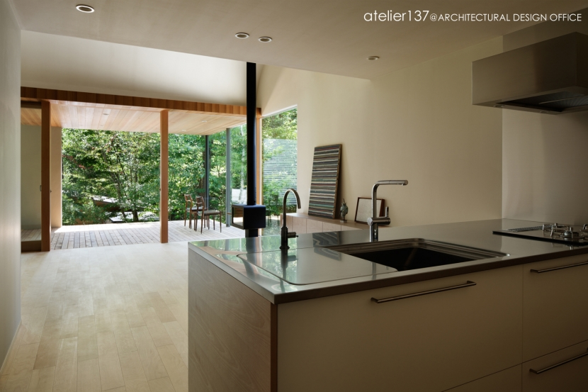 031軽井沢Tさんの家 (キッチンからテラスを見る)