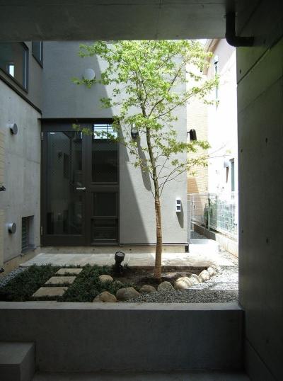 中庭 (地下1階地上3階の混構造|バス通りの家)